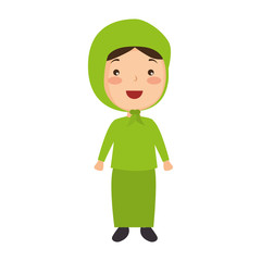 Muslim girl avatar character vector illustration design