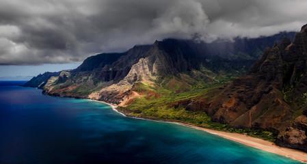 Aerial photograph of Kauai's dramatic NaPali coast.