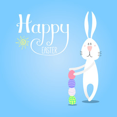 Hand drawn vector illustration of cute cartoon bunny building a tower from eggs, Happy Easter lettering. Isolated objects. Vector illustration. Festive design elements. Concept for card, invitation.