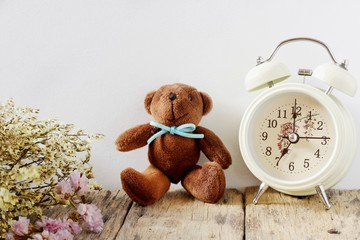 Bear doll with Alarm clock and dried flowers on white background, Vintage concept