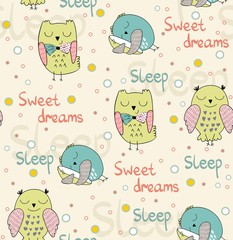 Cartoon Sleeping owls. Cute Hand Drawn seamless pattern