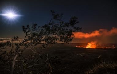 Full moon illuminates the Halemauamau crater on Hawaii's Big Island.