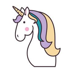 cute unicorn fantasy sticker vector illustration design