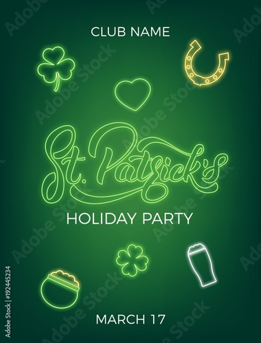 Saint Patricks Day Invitation Design Layout With Neon St Lettering And Icons