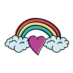 heart love sticker art with rainbown vector illustration design