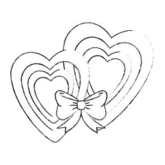 hearts love sticker art with bowntie vector illustration design
