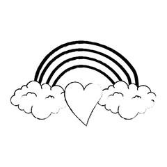 heart love sticker art with rainbown vector illustration design