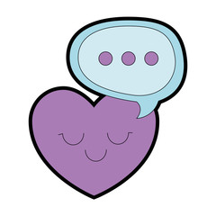heart love with speech bubble kawaii character vector illustration design