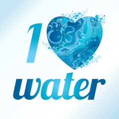 Vector Love heart water texture