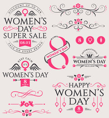 Women's Day design elements and sale badge.