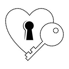 heart love sticker art with key hole vector illustration design