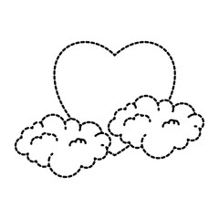 heart love sticker art with clouds vector illustration design