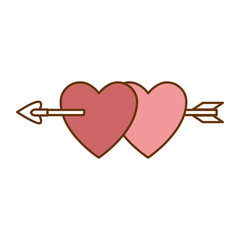 heart love sticker art with arrow vector illustration design