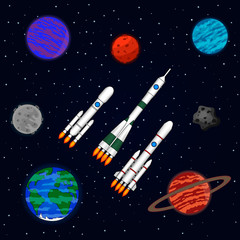 Space ships fly in interstellar space. Space ships, planets, meteorites, planet Earth. Vector illustration on a theme space