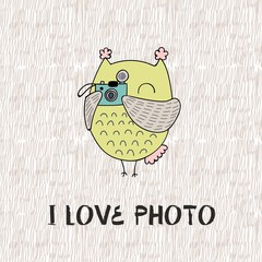 Cartoon owl. I like photo. Cute Hand Drawn illustration