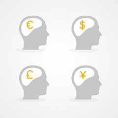 Set: brain and money. Flat design