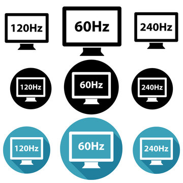 Different screen refresh rates (60Hz, 120Hz and 240Hz) monitor icons. Three variations