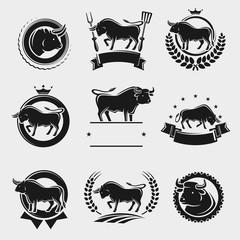 Bull labels and elements set. Vector