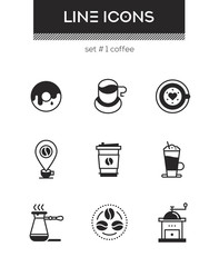 Coffee - set of line design style icons