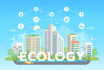 Eco-friendly district - modern flat design style vector illustration