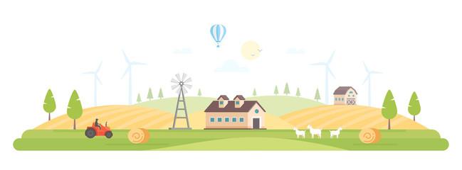 Eco village - modern flat design style vector illustration