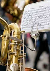 Saxophone and musical score