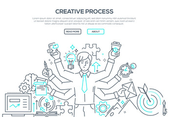 Creative process - modern line design style illustration