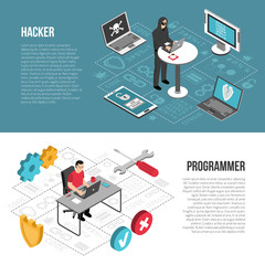 Hacker Programmer Isometric Banners