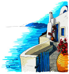 Greece summer island landscape. Santorini hand drawn square vector background. Picturesque sketch. Ideal for card, invitation, banners, posters.