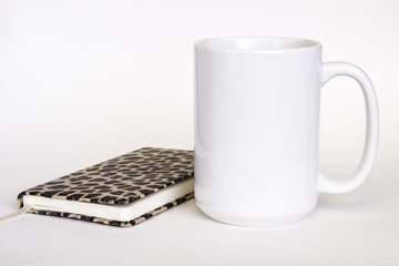 15 oz white ceramic mug mockup, white photo feminine style