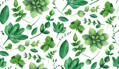 Green leaves pattern watercolor. Summer garden background