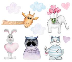 Watercolor animals cartoon clip art. Kids illustrations