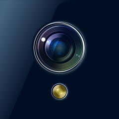 Camera of smartphone or webcam vector background