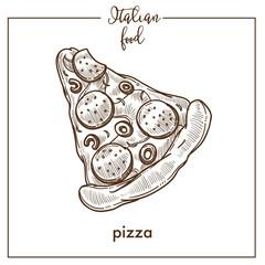 Pizza sketch vector icon for pizzeria or Italian cuisine food menu design