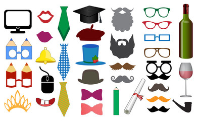 Photo Booth Props and Scrapbooking Vector Set for Graduation Parties. Party for Student