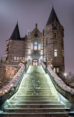 Fotobehang Kasteel Vertical view for Teleborg castle in winter, Sweden