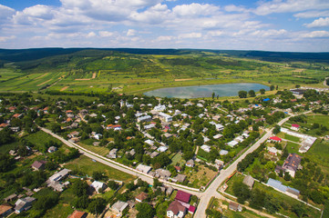 Aerial Shot of Village at Lake