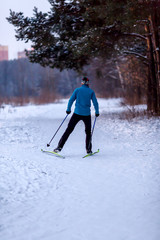 Image from back of male skier in blue jacket in winter forest