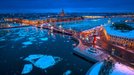 Russia. Winter in Russia. St. Petersburg. Night city. Ice floats
