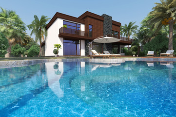 Luxury modern house overlooking a tropical landscaped garden with palm trees and curving blue swimming pool. 3D rendering.