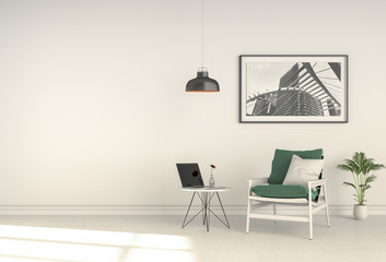 interior modern living room workspace with chair and laptop computer. 3D rendering