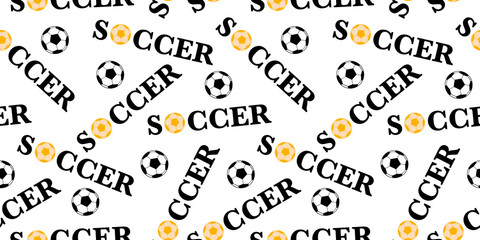 Seamless pattern with soccer ball. Vector football background