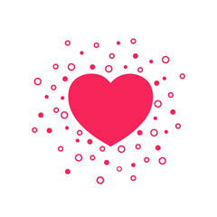 Red heart on a white background decorated with red rings. Banner for Valentine's day. Flat design. Vector illustration