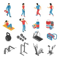 Fitness Health Isometric Icons Set