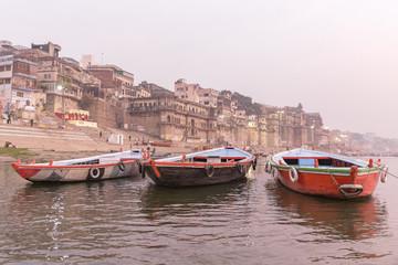 boats on the Ganges river, Varanasi, Uttar Pradesh, India