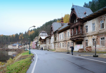 Small, village, Kyselka, with historical, houses, near Karlovy Vary,