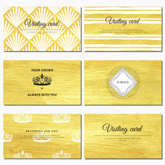 Set of six horizontal business cards. Luxury golden paint hand drawing foundation. Place for your text.