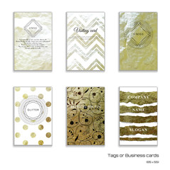 Set of six vertical business cards. Crumpled foil golden basis. Geometric frame in form of cut gems and sun burst. Place for your text.