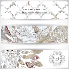 Set of three horizontal banners. Crumpled silver foil basis. Geometric frame in form of cut gems with a sun burst. Place for your text.