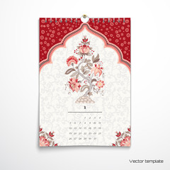Vector illustration. Spiral calendar with Tree of Life. The motives of the paintings of ancient Indian fabrics. Tree of Life collection. Realistic shadows